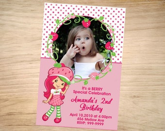Strawberry Shortcake Birthday Invitation - Strawberry Shortcake Invitation - Strawberry Shortcake Invite - Printable Invitation - Digital