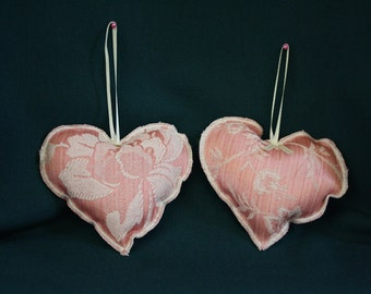Pair of Pink Heart Lavender Sachets