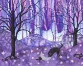 """Greetings card: """"Sniffing the moon"""" - dog, black Labrador, moon,fantasy, night,bare trees from an original mixed media painting by Liz Marsh"""