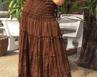 LONG GYPSY Skirt/Dress - Boho-Gypsy Style- Tiered Cotton-BROWN