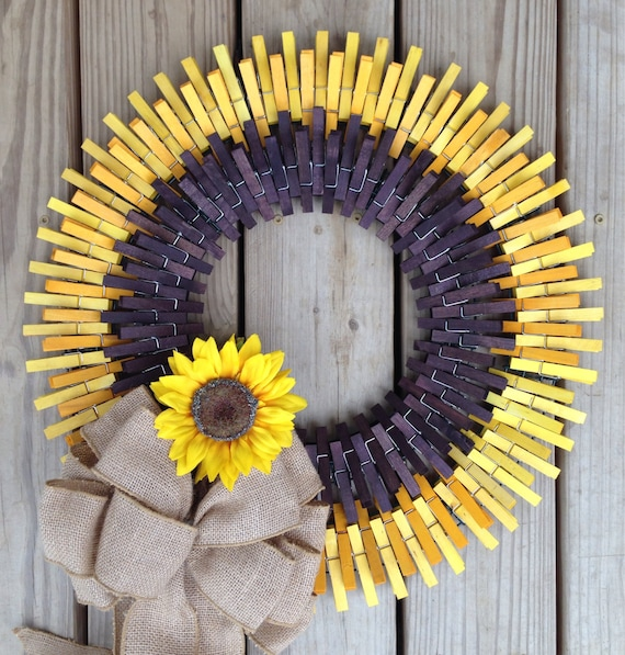 items similar to sunflower clothespin wreath on etsy