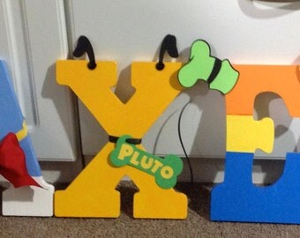 Disney Character Themed Wooden Painted Letters