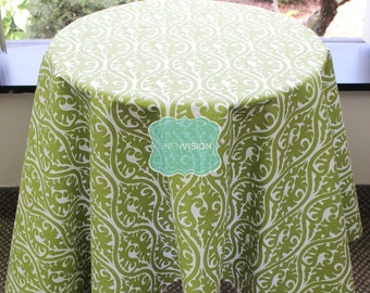 Tablecloth - Premier Prints - KIMONO Damask - Olive White - Choose Your Size - Table Linen Wedding Home Decor Dining Kitchen