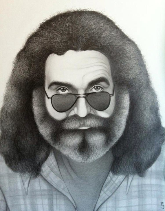 "Items similar to Realistic Jerry Garcia drawing 18""x24 ..."