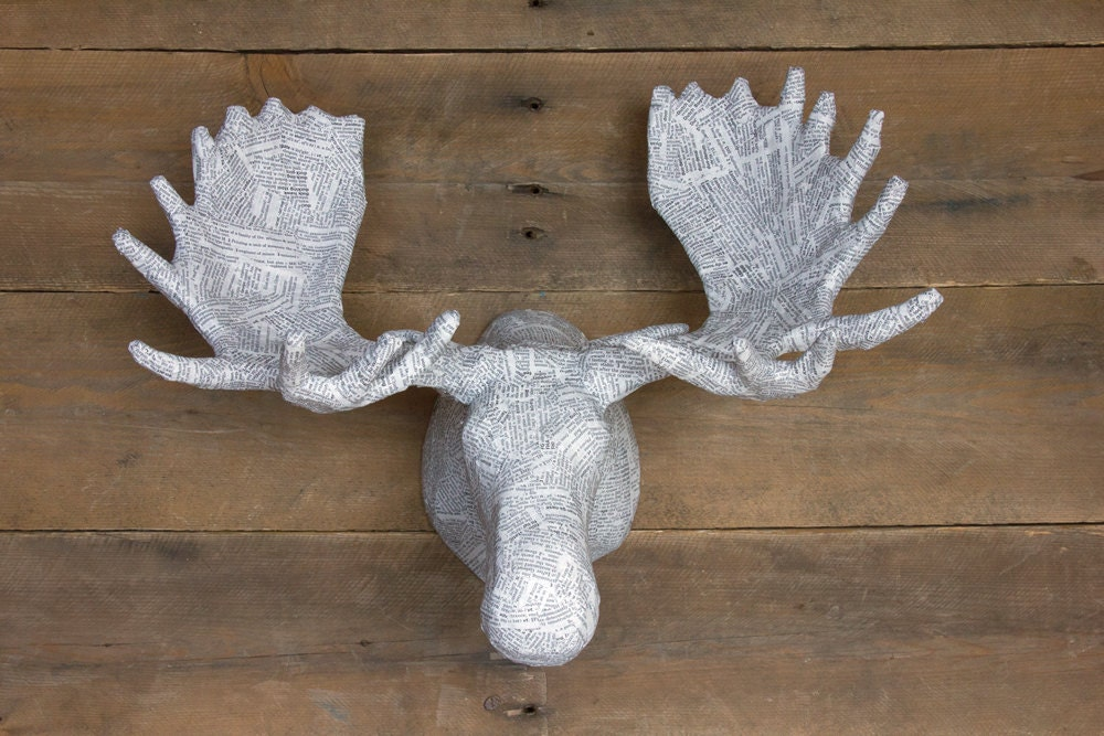 Medium paper mache animal head sculpture moose by for Making paper mache animals