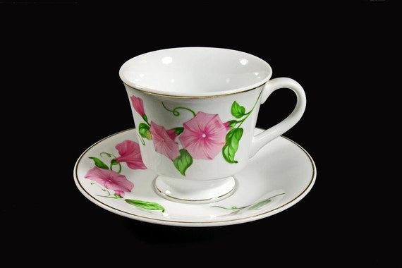 Cup and Saucer  Morning Glory Pattern