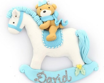 Blue Rocking Horse Ornament