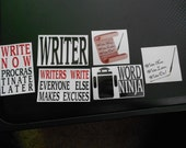 Set of 6 Writing Inspired Stickers
