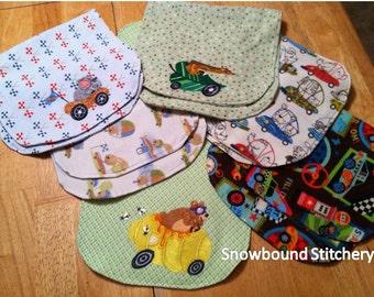 Custom Racing Buddies Burp Clothes - Set of 6 -- 3 Custom Embroidered - 3 Coordinating Themed