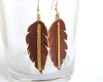 Espresso Leather Feather Earrings
