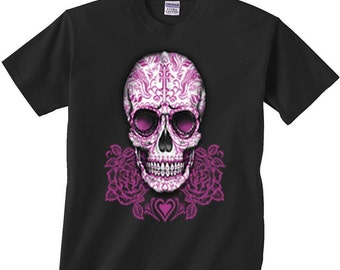 Sugar Skull Shirt Day of the Dead T-Shirt Pink Skulls with Roses FREE SHIPPING in usa