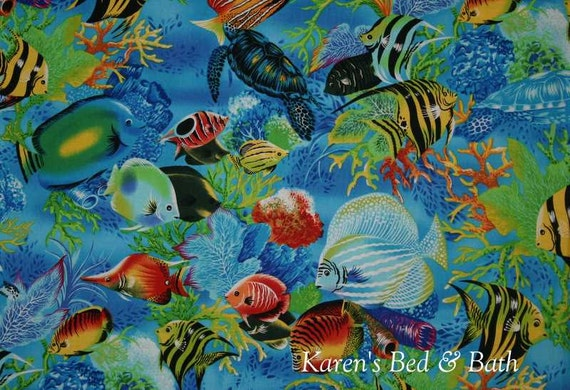 Tropical fish fabric sea life paradise by the yard half yard for Fish fabric by the yard