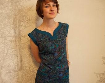 Sidonie Dress in Liberty/ Blue cotton dress/ Liberty dress/Paisley dress/