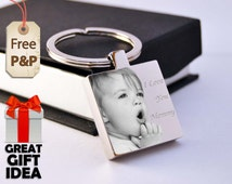 Personalized Stainless Steel Keyring Photo Engraved - Unique Gift - Free delivery