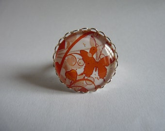 Adjustable ring cabochon 25mm orange butterflies