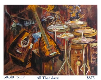 All That Jazz abstract acrylic painting, jazz instruments painting, abstract music painting, drums, guitar, symbols
