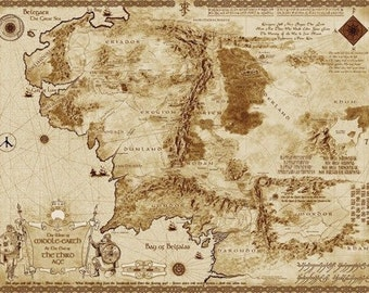 Map Of Middle Earth 32'' Silk Poster
