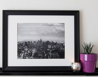 Vintage Black and White Photography Fine Art Print, Empire State Building From The World Trade Center