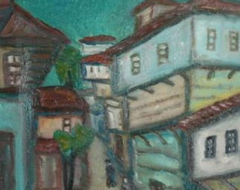European art oil painting landscape expressionism signed