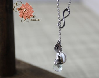 Sterling Silver Infinity Necklace with Aquamarine and Freshwater Pearl, Lariat, Personalized Jewelry, Hand Stamped