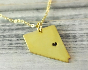 I  heart  Nevada  Necklace Nevada  pendant 18K gold plated state necklace state pendant map pendant  hammered state necklace map jewelry