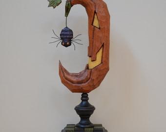 Jack-O-Moon Primitive Folk Art Woodcarving