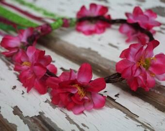 Pink Kids Flower Crown, Flower Wreath, Flower Headband, Flower Headpiece, Flower Girl, Wedding, Birthday Crown, Fairy Crown