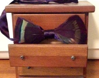 Thornton- Plum Purple Feathered Bow Tie