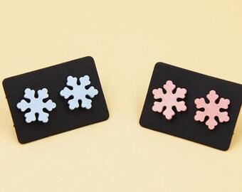 Ceramic Jewelry-ceramic ear studs, snowflake, cherry blossom, pink, blue