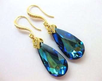 Bermuda Blue Swarovski Crystal Teardrop Gold Earrings Wedding Jewelry Bridesmaid Gift Bridal Earrings Blue Earrings(E006)