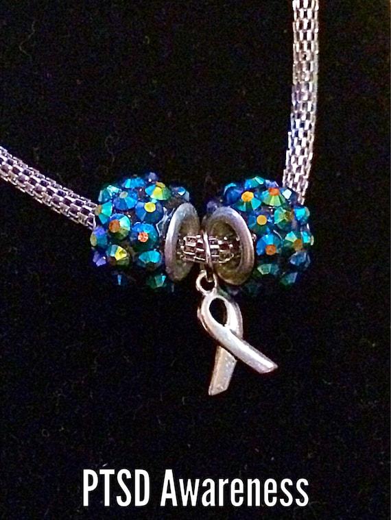 Ptsd Awareness Braclelet With Teal Crystal Beads Brain