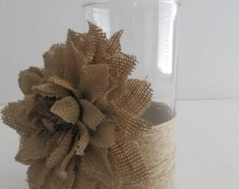 10 Rustic Wedding centerpiece,burlap flower candle holder centerpiece, rope trim flower vase candle holder centerpiece for weddings