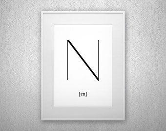 Typography Art Print - N - Letter poster - Printable - Wall Art