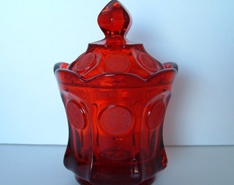 Fostoria Ruby Red Coin Glass Candy Jar With Lid