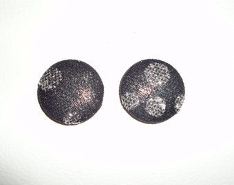 Black Button Earrings. Black and Silver Shimmer Button Earrings. Red Stud Earrings. Prom Earrings. Prom Jewelry. Button Earrings.