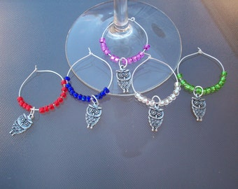 Owl Wine Glass Charms - Set of 5