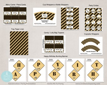 Construction Party Decoration Printables / Digger Party