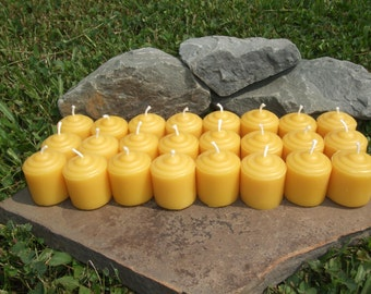 100% Beeswax Votive Candles - 24 Mini Beeswax Votive - Free Ship! -