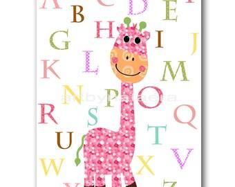 Giraffe Nursery Alphabet Nursery Print Digital file Baby Girl Room Decor Baby Girl Nursery Art 8x10 11X14 INSTANT DOWNLOAD rose green