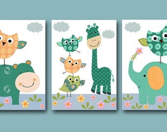 Owl Decor Giraffe Nursery Baby Boy Nursery Art Print Elephant Nursery Children Art Print set of 3 8x10 11X14 Kids INSTANT DOWNLOAD Wall Art