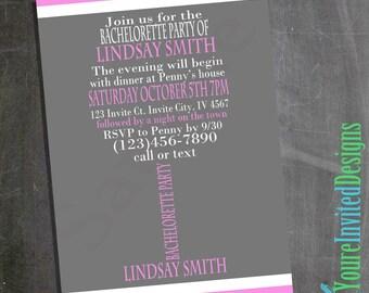 Custom Printable Bachelorette Party Invitation, Bachelorette Party Wine Glass Invitation