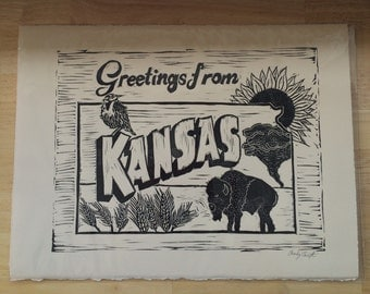 Greetings from Kansas, Linocut print, 15 inches x 11.25 inches, open edition