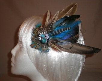Brown and Teal Feather Hair Piece