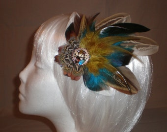 Mossy Green and Teal Feather Hair Piece