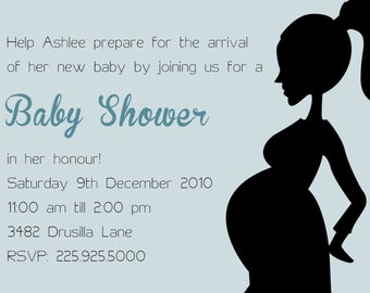 Pregnant silhouette baby shower invitations