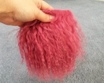 Rose tibetan lamb wool hair for fairy art doll wig making