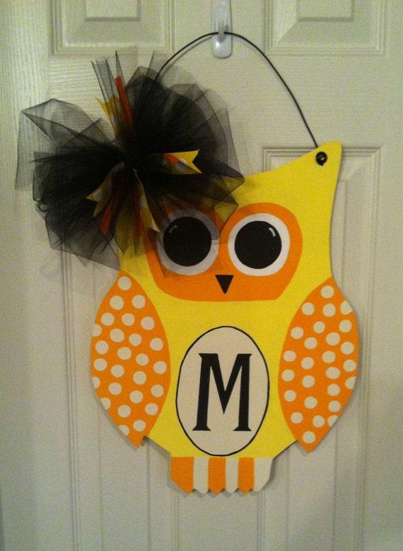 Items similar to Owl door hanger, Fall door hanger, door  ~ 102409_Halloween Owl Door Hanger