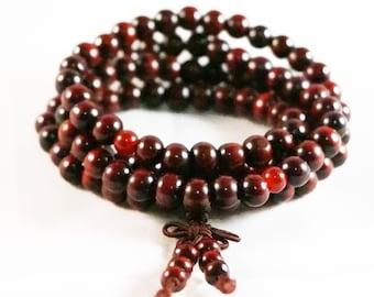 Tibetan 8mm 108 Red Round Sandalwood Buddhist Prayer Beads Mala Necklace