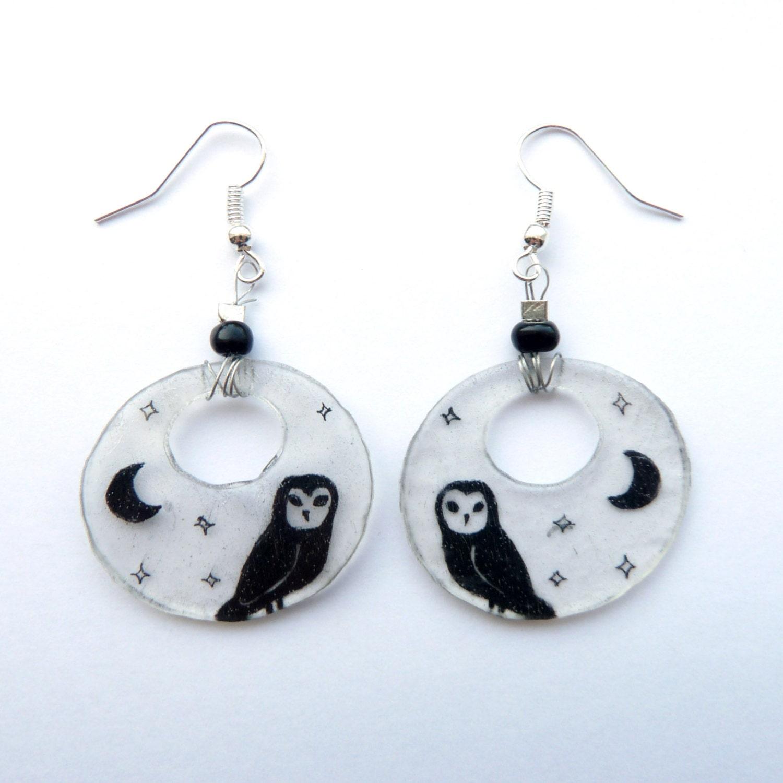 Silhouette Earrings: Owl Silhouette Dangling Hoop Earrings Bird Earrings Moon And