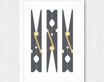 Dark Gray Clothespin Print, Wall Print, Wall Art, Grey, Gold, Laundry Room Decor, Printable, Digital Poster Print, Instant Download